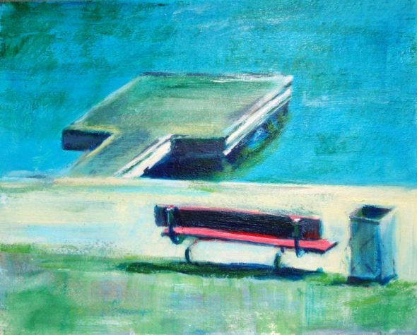Red Bench by the lake painting